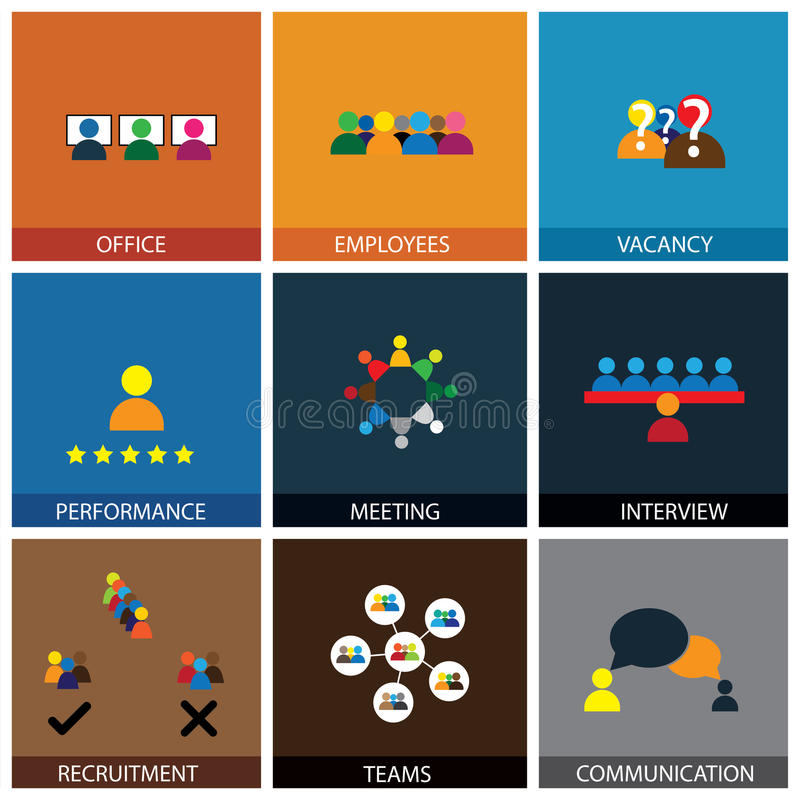Flat design of office people vector icons. Showing appraisal, recruitment, interviews, meetings stock illustration