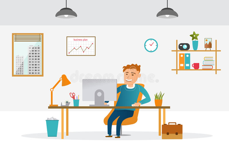 Flat design office royalty free illustration