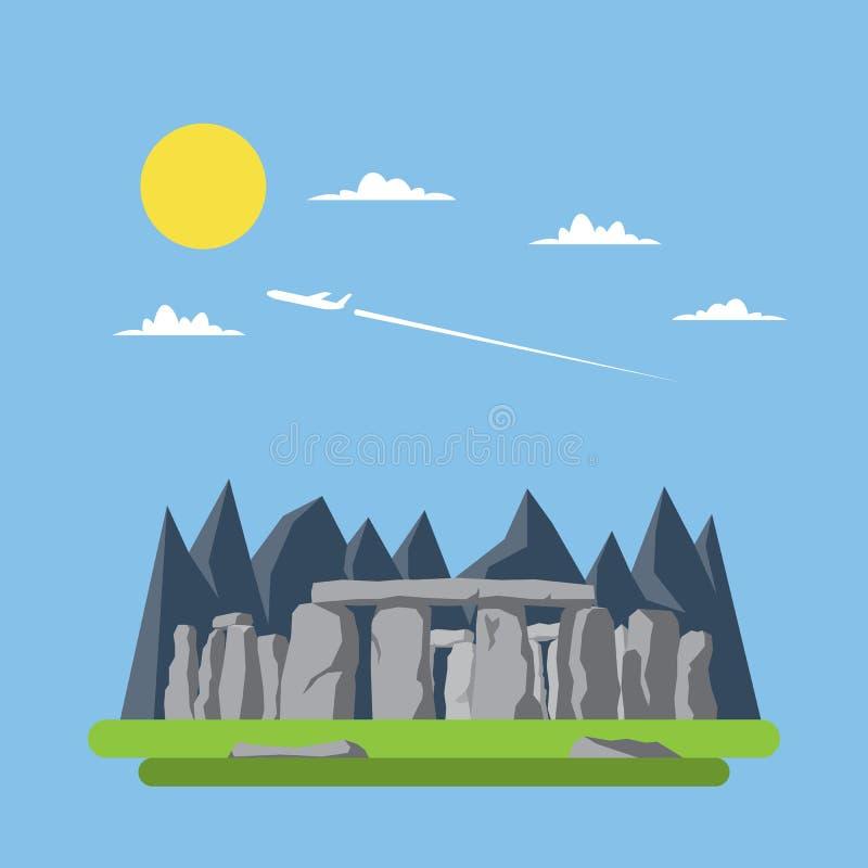 Flat design og stonehenge England. Flat design of stonehenge England illustration vector stock illustration