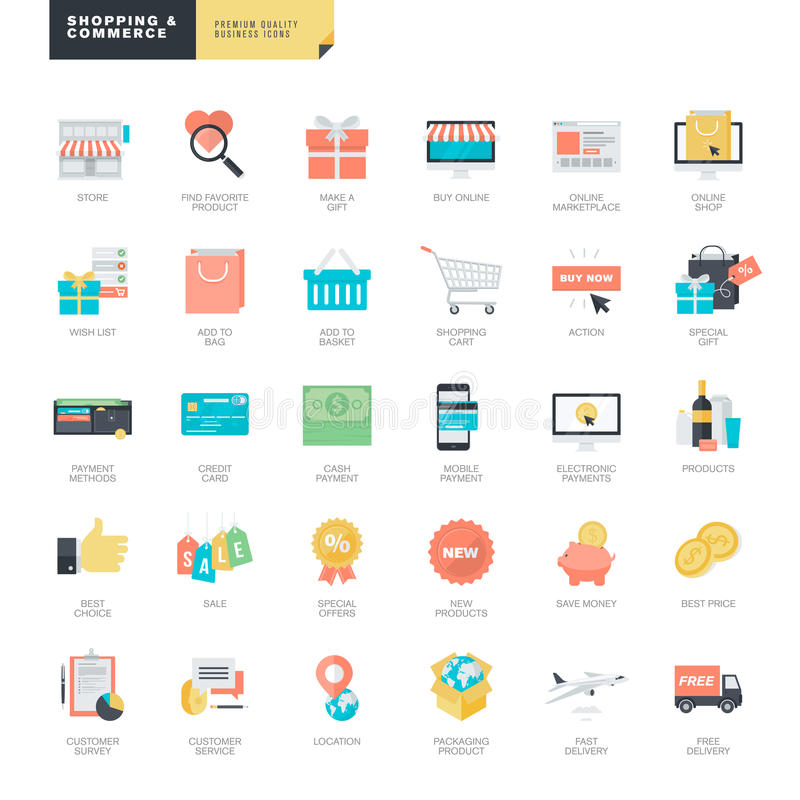 Flat design online shopping and e-commerce icons for graphic and web designers stock illustration