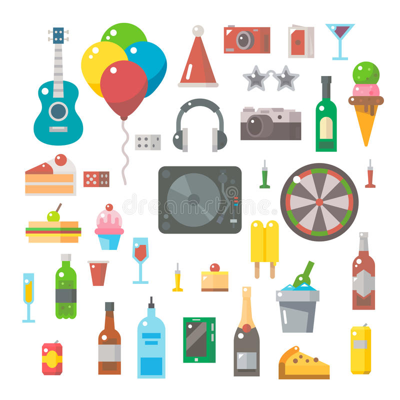 Flat design of party items set stock illustration