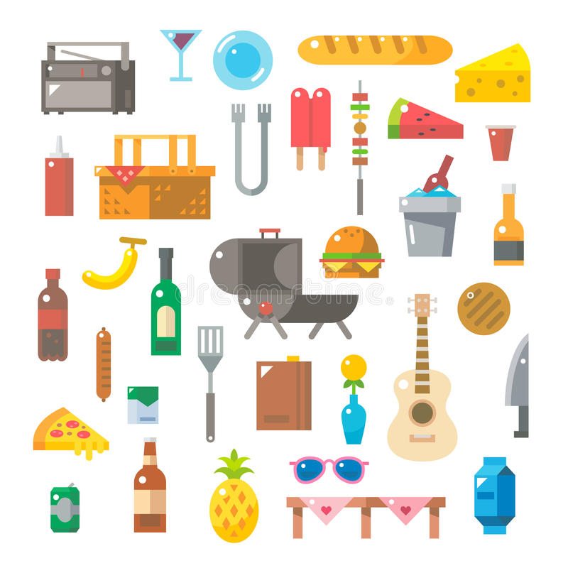 Flat design of picnic items set royalty free illustration