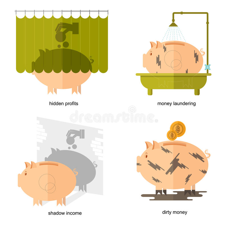 Flat design piggy bank icons vector illustration concepts of finance and business. Piggy bank icons for finance and business hidden profits shadow income dirty royalty free illustration