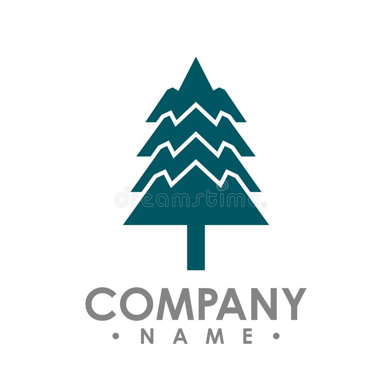 Flat design Pine Trees logo vector. Each element is separate for vector illustration