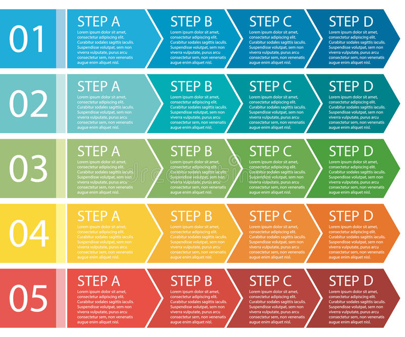Flat design. Process arrows boxes. Four steps. vector illustration