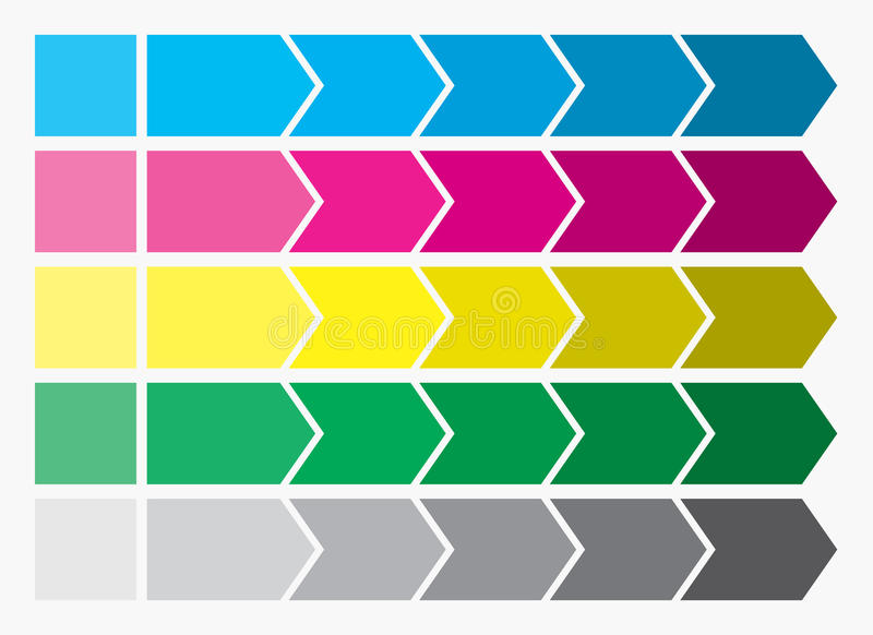 Flat design. Process arrows boxes. Step by step set. Five steps. vector illustration