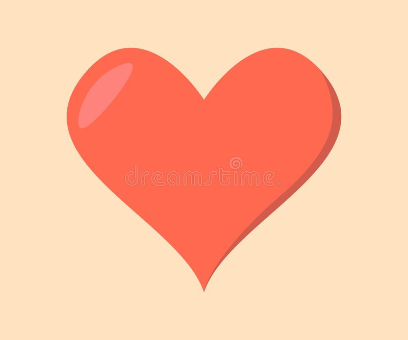 Flat Design Red Heart On Yellow Background - Vector Illustration. EPS file included. Made in Adobe Illustrator. High Quality. Nice Shape royalty free illustration