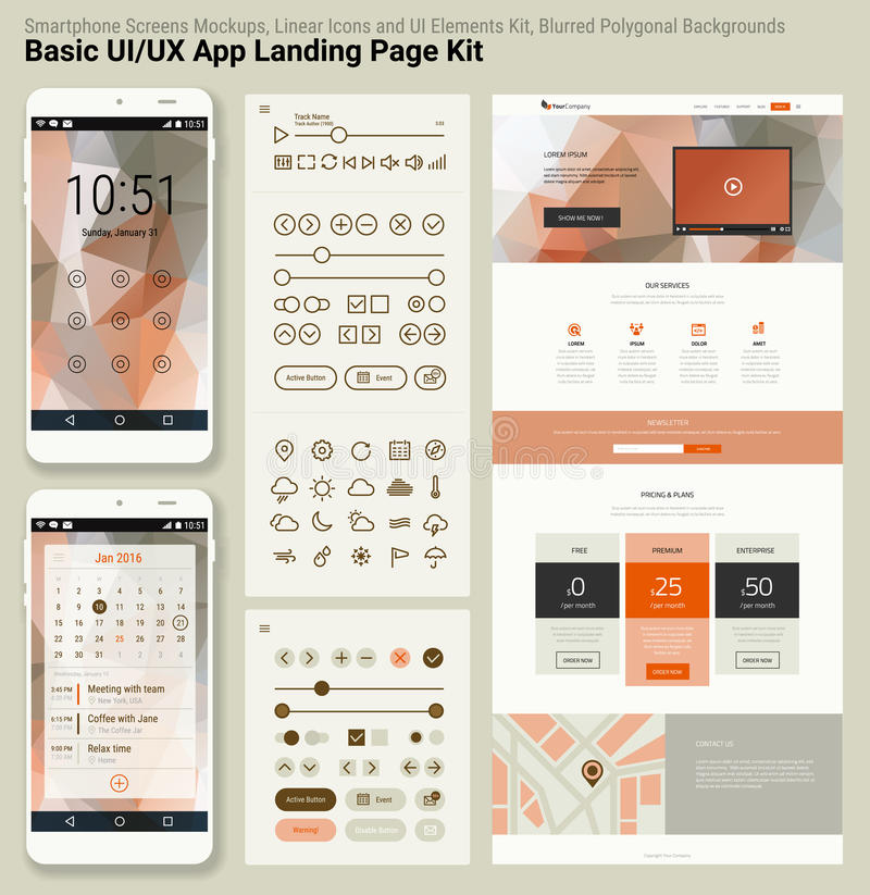 Flat design responsive pixel perfect UI mobile app and website template. With trendy polygonal header background, basic linear UI kit, calendar app widget stock illustration