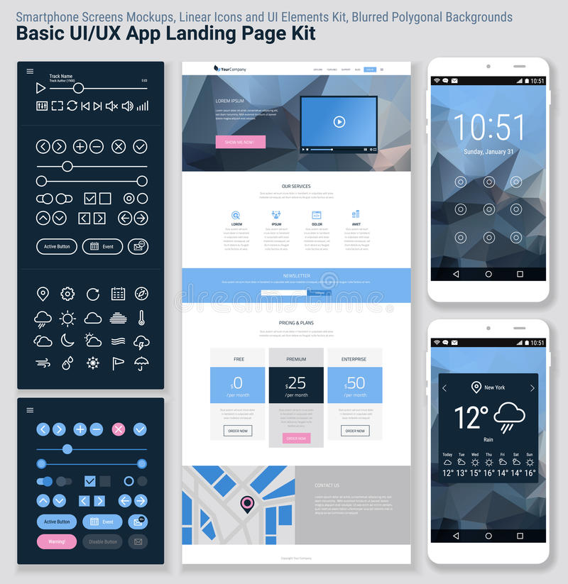 Flat design responsive pixel perfect ui mobile app and for Mobile site template free download