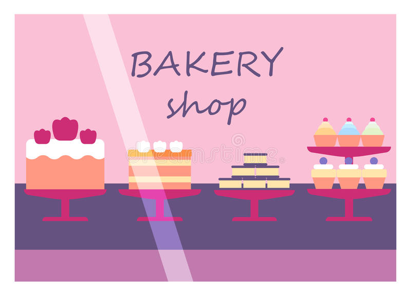 Flat design restaurant bakery shop facade icon store modern awning architecture window exterior and market front urban royalty free illustration