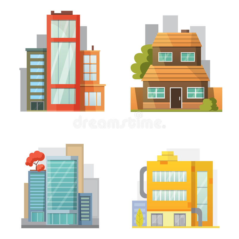 Flat design of retro and modern city houses. Old buildings, skyscrapers. colorful cottage building, cafe house front. stock illustration