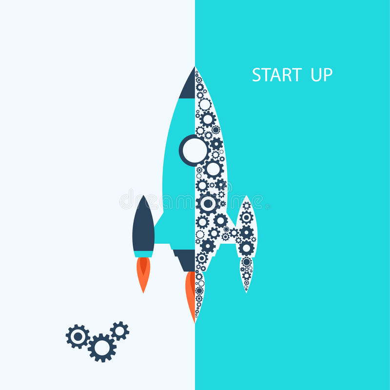 Flat design: rocket. Vector start up concept. vector illustration
