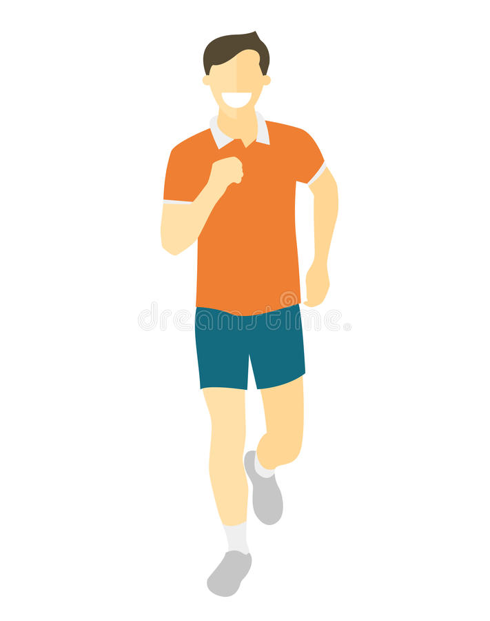Flat design running man. Boy run, front view. Vector illustration for healthy lifestyle, weight loss, health and good habits royalty free illustration