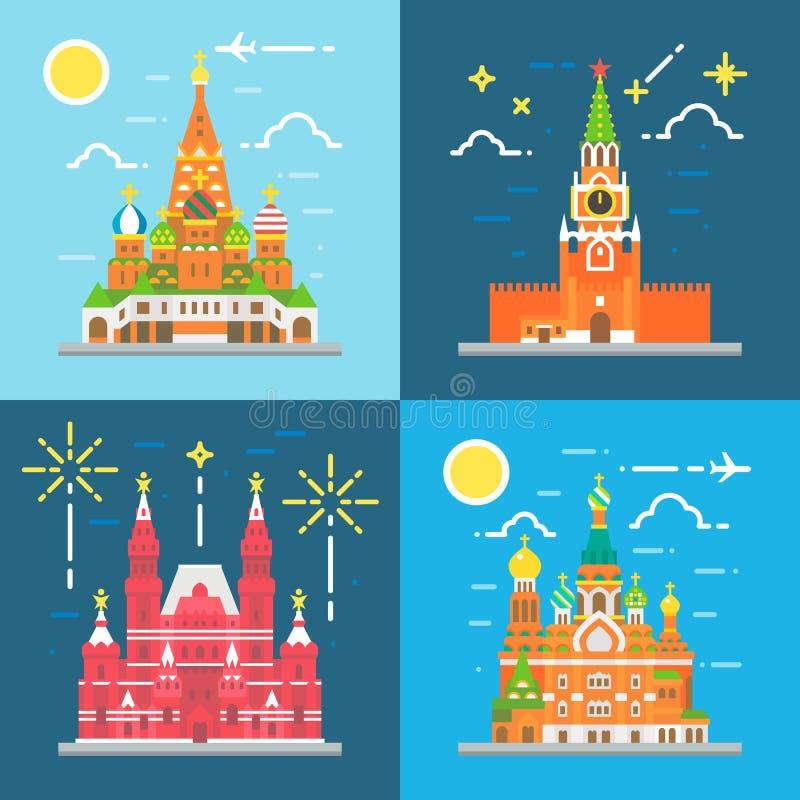 Flat design Russia landmarks set vector illustration