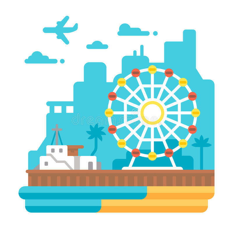 Flat design Santa Monica Pier royalty free illustration