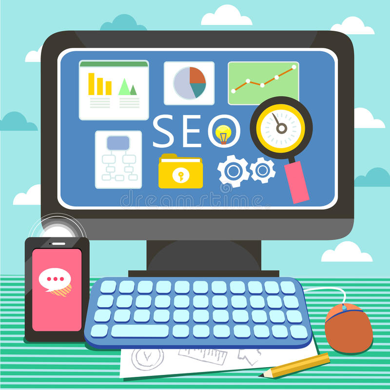 Flat design for search engine and website optimization. Concept royalty free illustration