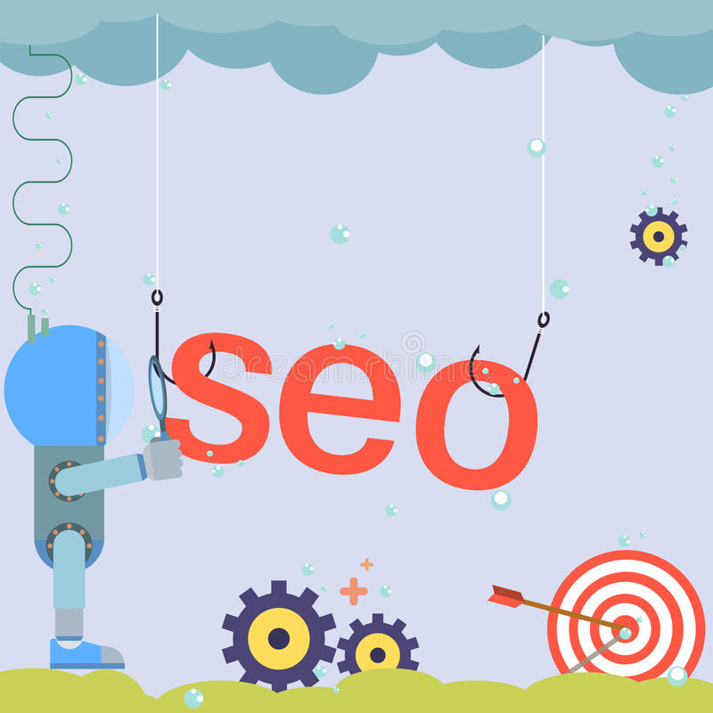 Flat design SEO word with icons symbols of success