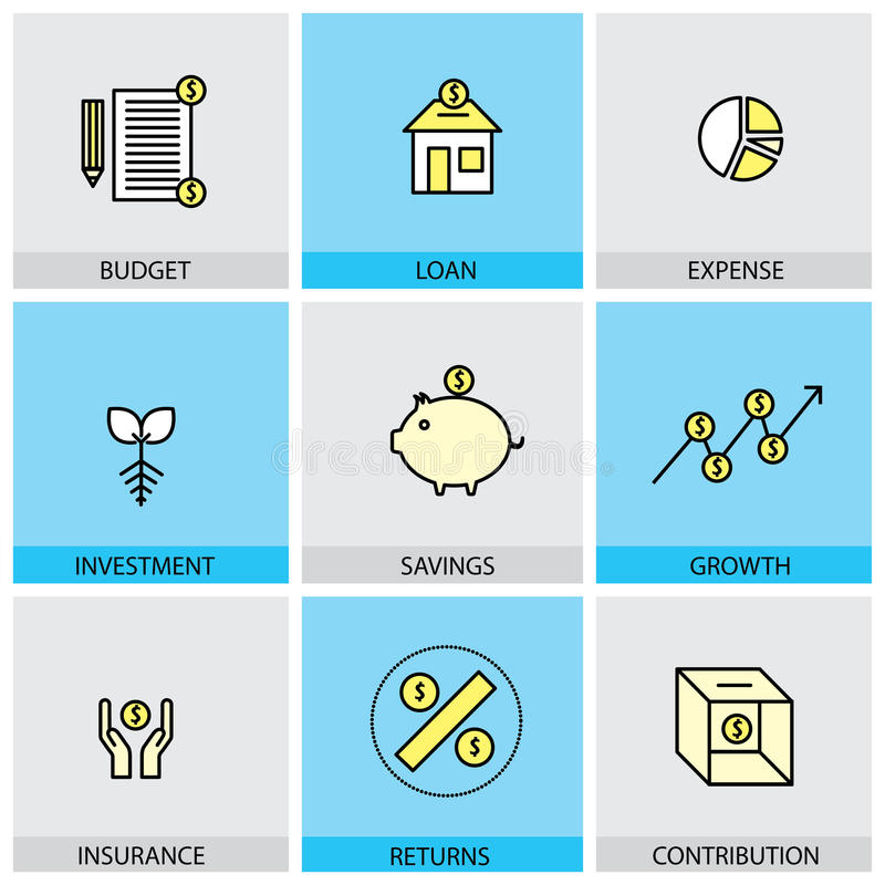 Flat design set of vector line icons of budget loan expense investment. Flat design set of vector line icons of budget loan expense & investment savings & growth royalty free illustration