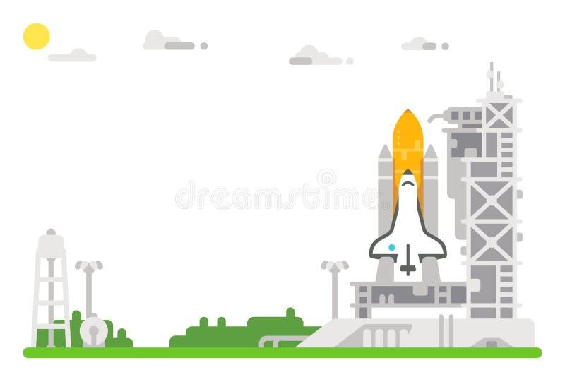 Flat design shuttle launch site. Illustration royalty free illustration
