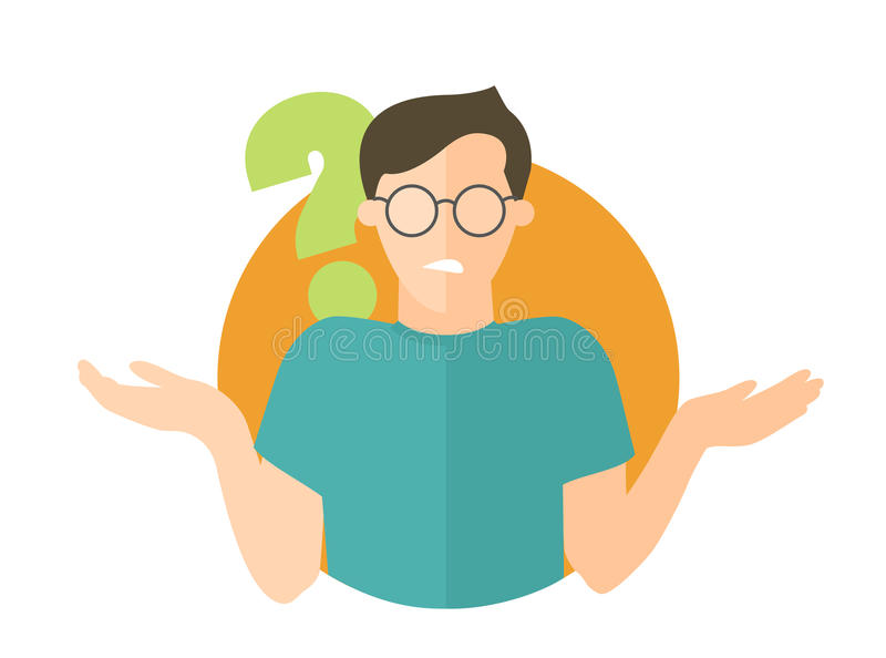 Flat design sign. Handsome man doubts. Question mark. Simply editable isolated vector illustration. Flat design icon. Handsome man in glasses doubts. Guy with a royalty free illustration