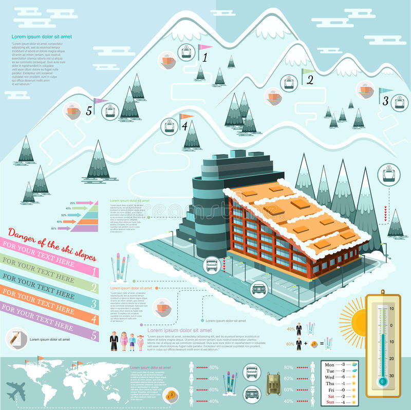 Flat design ski resort infographics with hotel stock for Design hotel ski