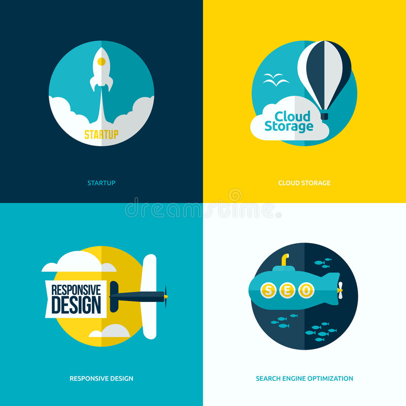 Flat design of the startup process, cloud storage, web design. Flat vector design of the startup process, cloud storage, responsive web design and SEO with