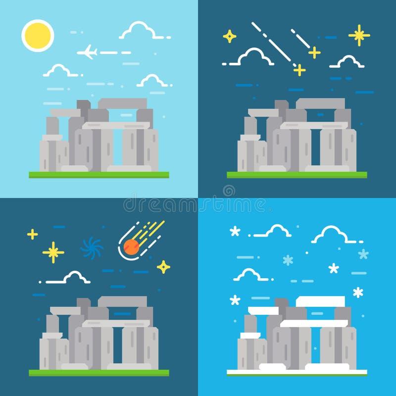 Flat design of Stonehenge UK royalty free illustration