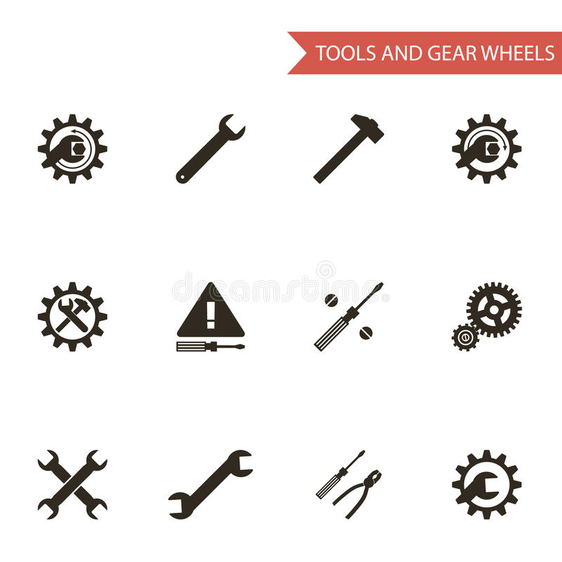Download Flat Design Style Black Tools Gear Wheels Icons Stock Vector - Image: 37519994
