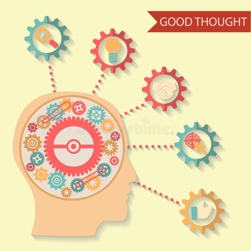 Flat design style businessman head thought idea. Mechanism in head. This is file of EPS10 format stock photo
