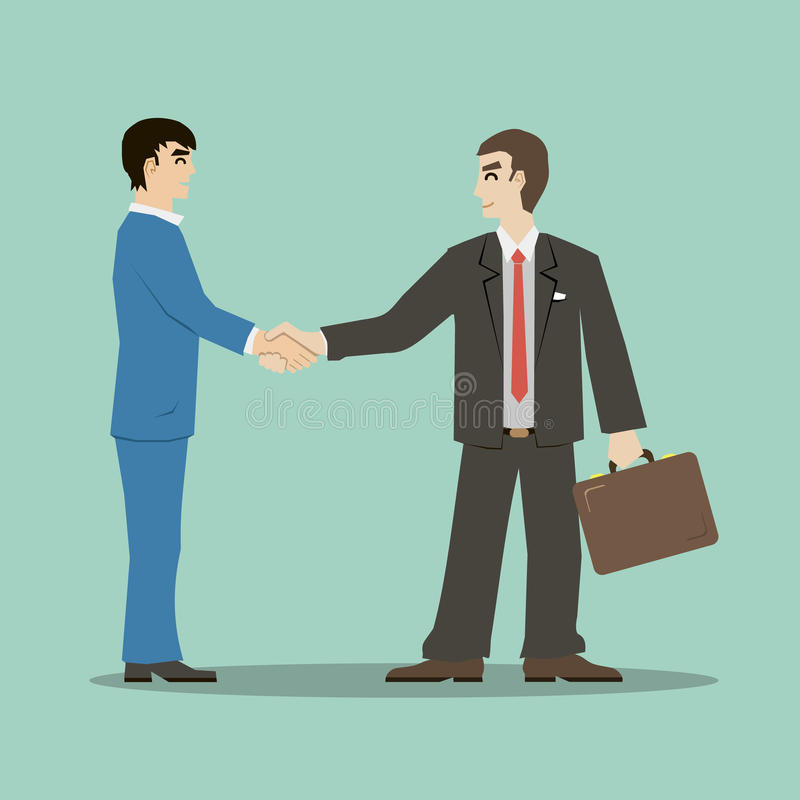 Flat design style businessmans shaking hands signing an important deal leading to success. Businessmans shaking hands signing an important deal leading to royalty free illustration