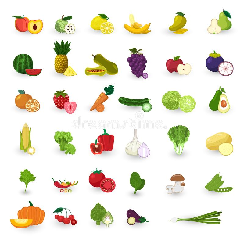Flat design style fruits and vegetable vector set. royalty free illustration