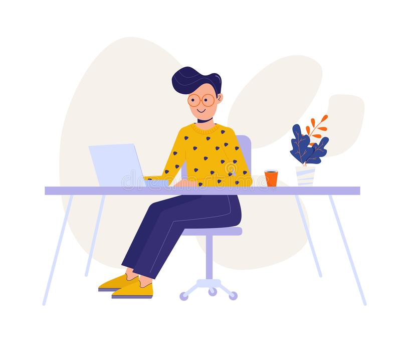 Flat design style man character sitting at the table using laptop. Working at the office concept. Freelancer male concept. Web. Template. Vector illustration stock illustration