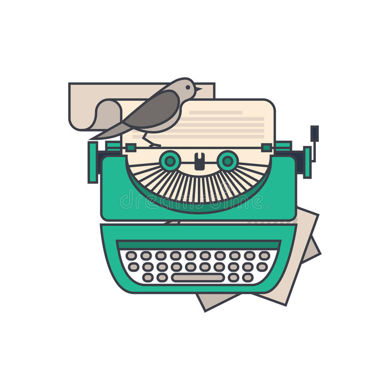 Flat design style modern vector illustration concept of a manual. Vintage stylish typewriter with a paper list. on white background for your design vector illustration