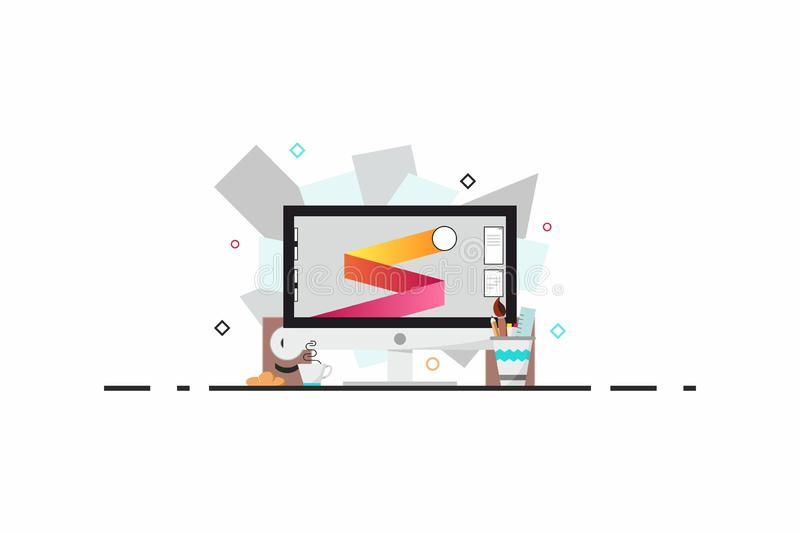Flat design style modern vector illustration. A set of graphic design elements and tools, office various objects and royalty free illustration