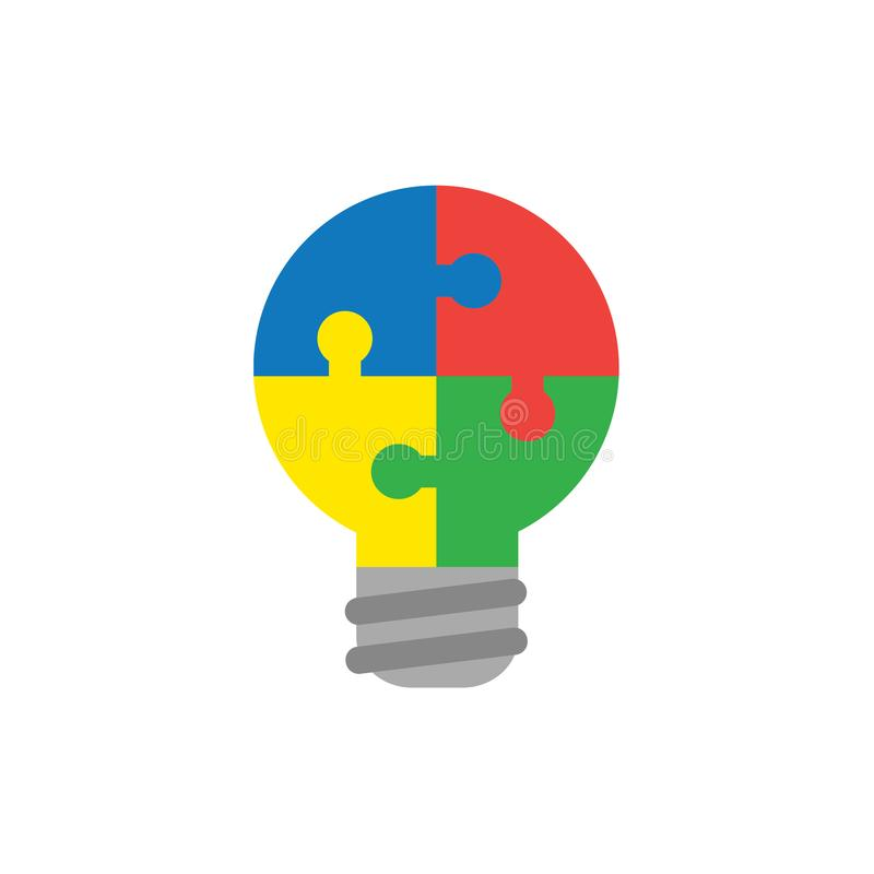 Flat design style vector concept of bulb-shaped four jigsaw puzzle pieces icon connected on white vector illustration