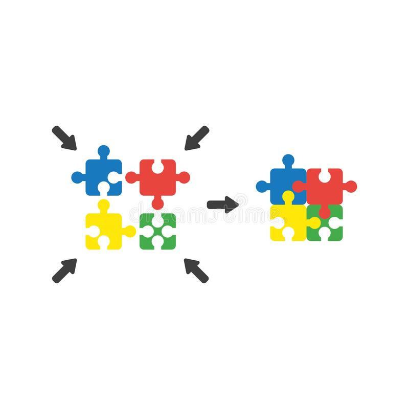 Flat design style vector concept of four part puzzle pieces conn. Flat design style vector illustration concept of four part blue, red, yellow and green puzzle stock illustration