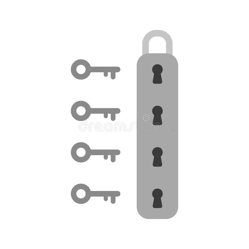 Flat design style vector concept of padlock icon with four keyholes and four key on white vector illustration