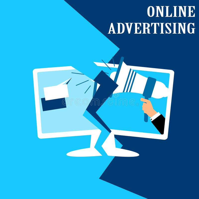 Concept illustration for online advertising. Vector flat design of monitor with businessman holding megaphone. royalty free illustration