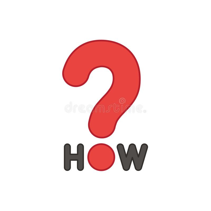 Flat design style vector concept of how text with question mark icon on white. Colored outlines vector illustration
