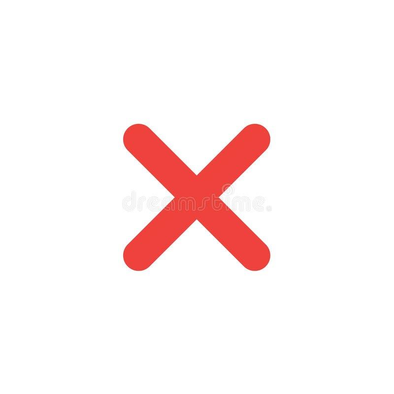 Flat design style vector x mark icon on white royalty free illustration