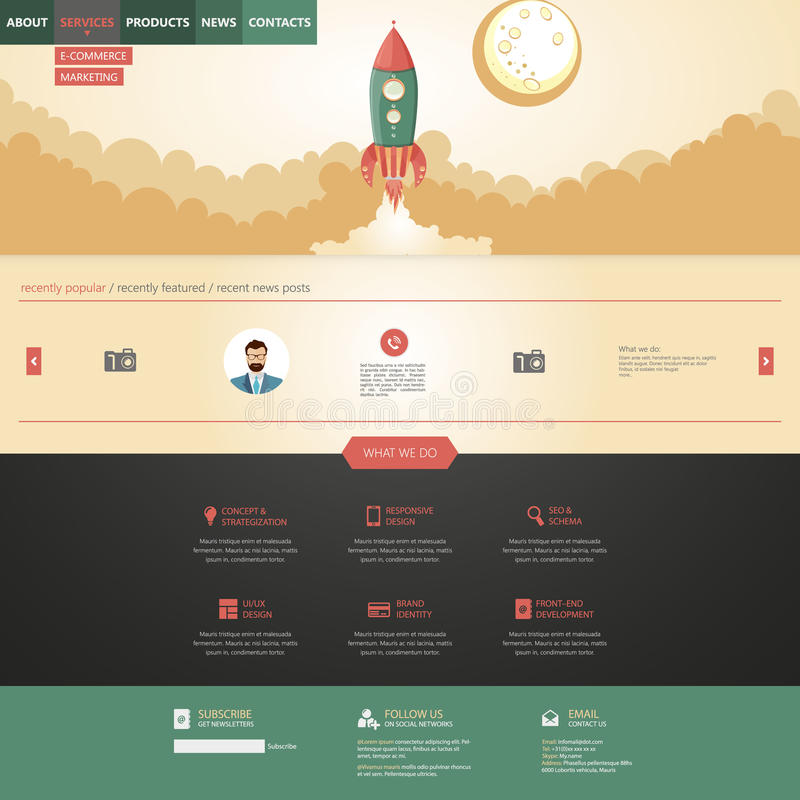 Flat design style website template with rocket retro spaceship illustration royalty free illustration
