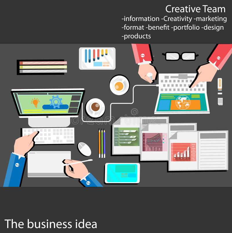 Flat design stylish vector illustration of routine organization of modern business works pace in the office.Business Plan. With graph Business idea royalty free illustration