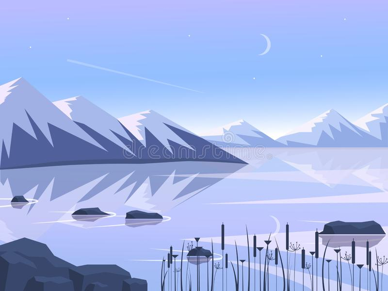 Sunset in the mountains with reflection in the lake. Flat design. Vector illustration. royalty free illustration