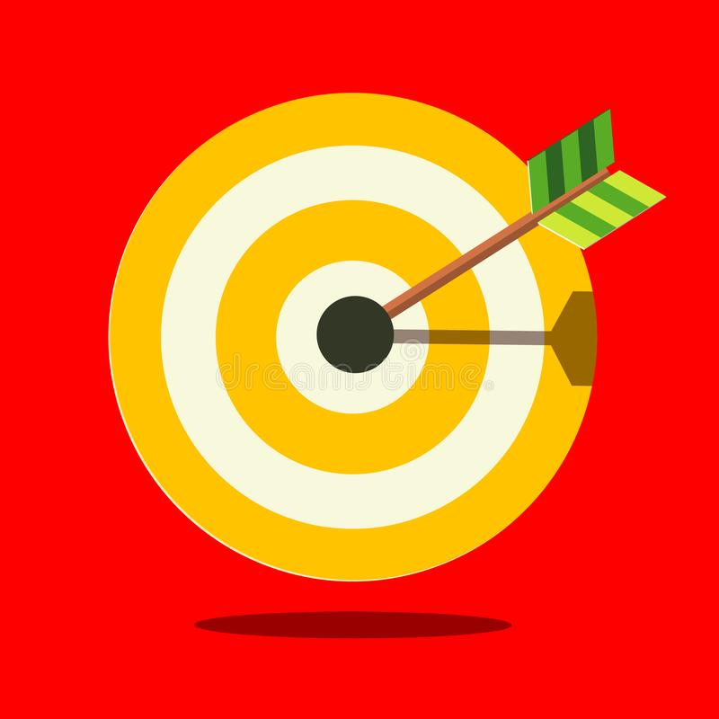 Target Icon on Red Background vector illustration