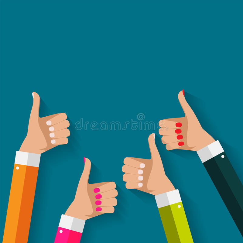 Flat Design Thumbs Up Background . Vector Illustration royalty free illustration
