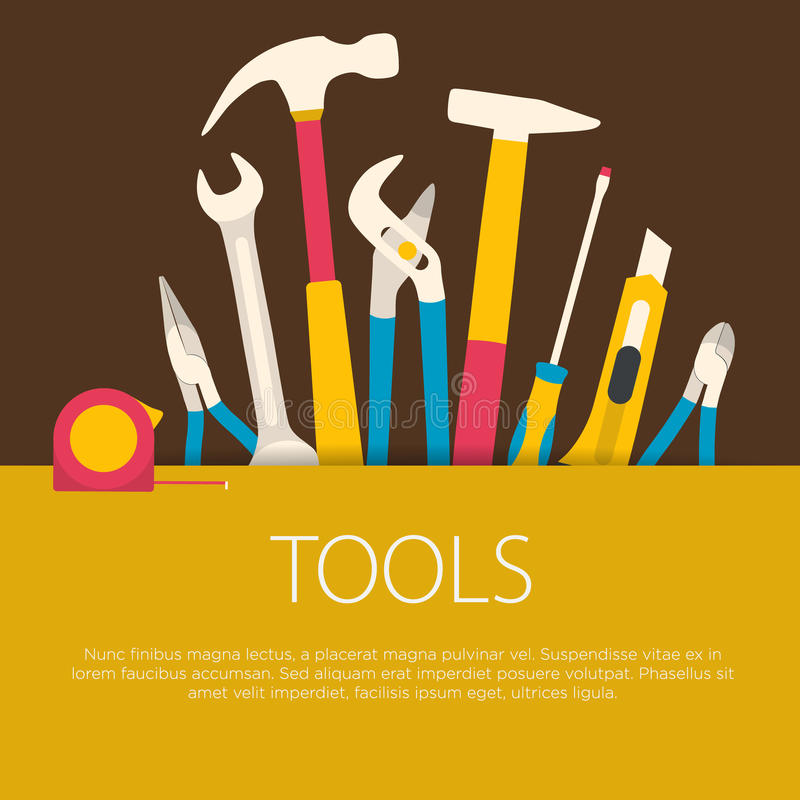 Flat design tools concept. stock illustration