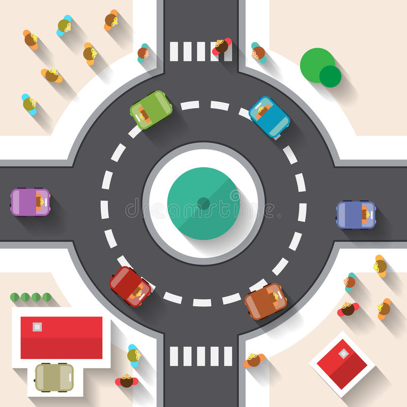 Flat Design Top View Street Roundabout stock illustration