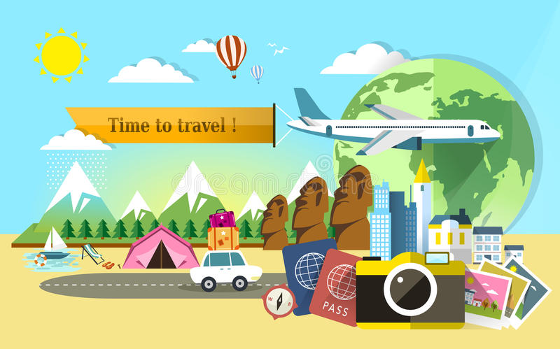 Download Flat Design For Travel Around The World Stock Vector
