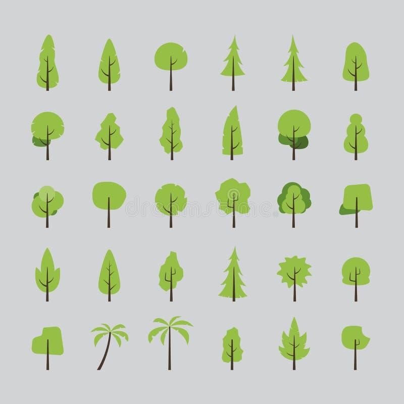 Flat design of tree set royalty free illustration