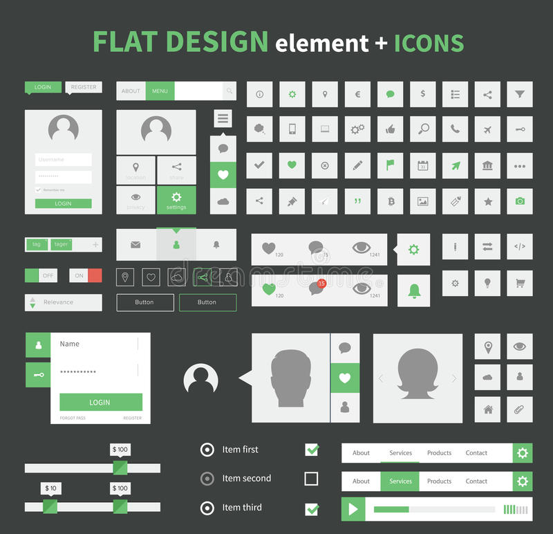 Flat design ui kit elements set with flat icons vector illustration